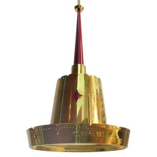 Mid-Century Modern Brass Pendant Fixture