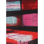 Image of Mid Century Abstract Lithograph in Warm Tones