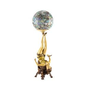 Art Deco Polychrome Figural Burlesque Dancer Lamp With Millefiori Shade