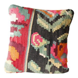 Vintage Turkish Kilim Pillow Reds Black Green Multi Color Flowers Bohemian Mid Century