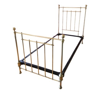 1930s French Solid Brass Bed