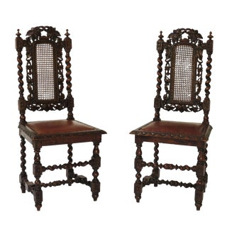 19th Century English Hall Chairs - A Pair