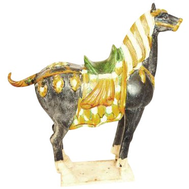 Tang Dynasty Style Ceramic War Horse Statue - Image 1 of 4