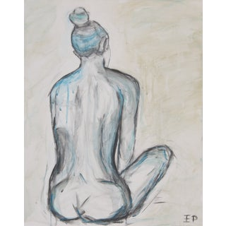 Sitting Nude in Turquoise and Teal by Emily Powell