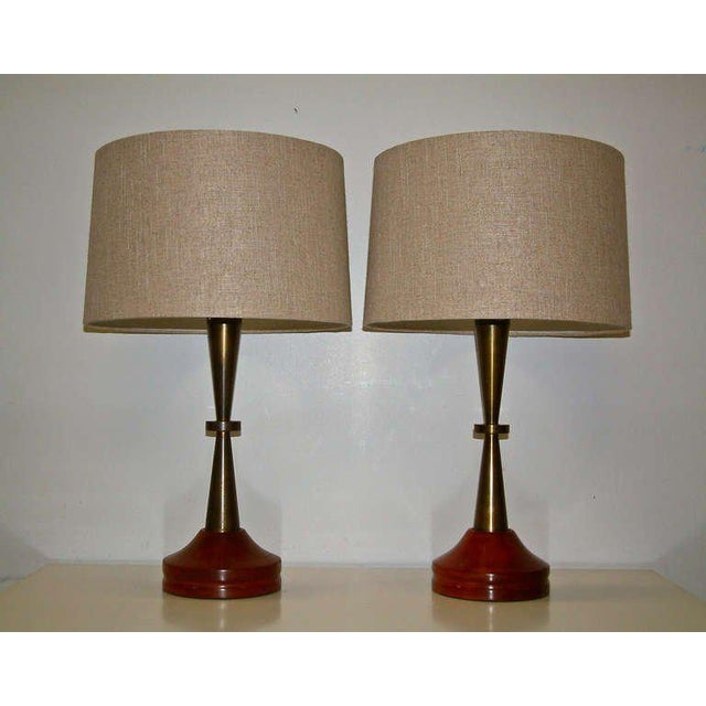 Bronze and Primavera Finish Wood Base Lamps - A Pair - Image 2 of 8