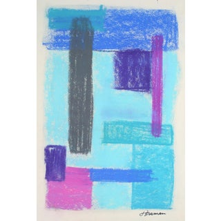 Bright Pastel Abstract in Blue, Circa 1960s