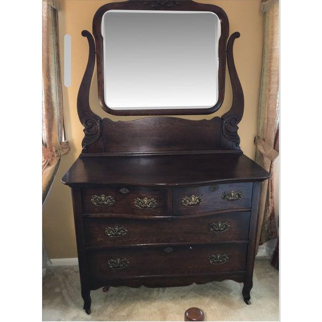 Antique Oak Serpentine Chest & Chevell Mirror - Image 2 of 5