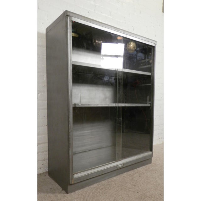 Industrial Metal Sliding Window : Industrial metal mid century cabinet w sliding glass
