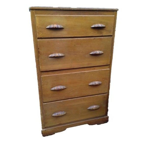 Image of Vintage Art Deco Blonde Tall Wood Dresser