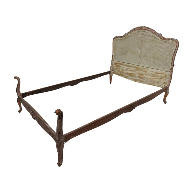 Image of French Louis XV Style Twin Carved Caned Back Bed