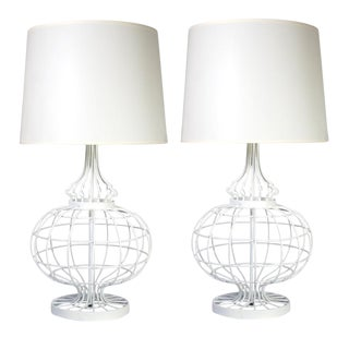 Mid-Century White Wire Lamps - A Pair