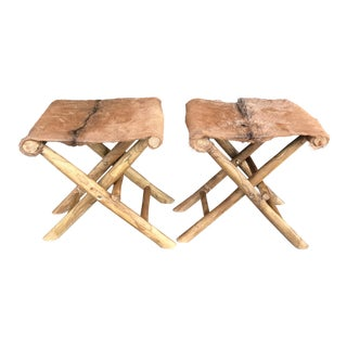 Folding Goat Skin and Teak Stools - A Pair