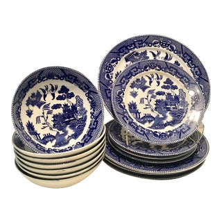Japanese Blue Willow Dinnerware - Set of 15