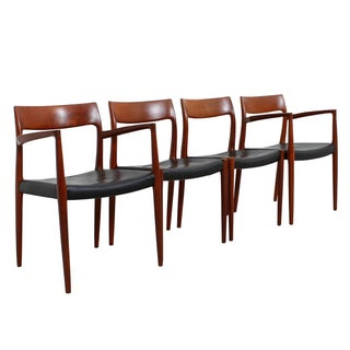 Niels Moller Danish Modern Teak & Leather Chairs - Set of 4
