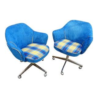 Saarinen Blue Plaid Swivel Chairs - A Pair