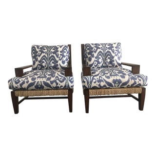 A. Rudin Ikat Linen Lounge Chairs - A Pair