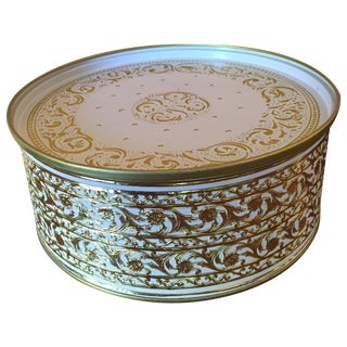 Vintage Gold & White Embossed Scroll Tin W/ Lid