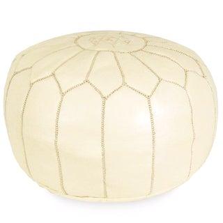Cream Moroccan Pouf Ottoman