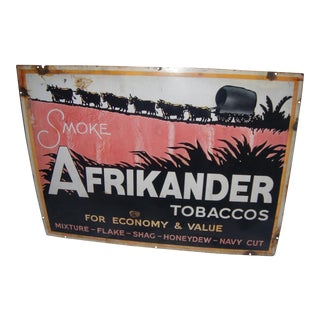South Africa Vintage Afrikander Tobacco Enamel Sign