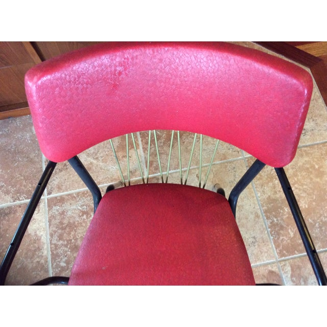 Mid-Century Red Vinyl Dining Chair - Image 3 of 8