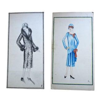 Antique 1920s Original Fashion Sketches - A Pair