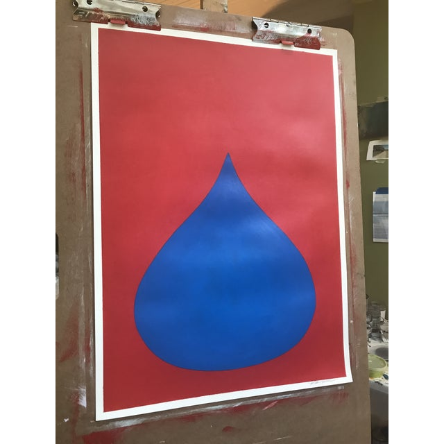 Fat Drop of Superman Blue on Red by Stephanie Henderson - Image 3 of 4
