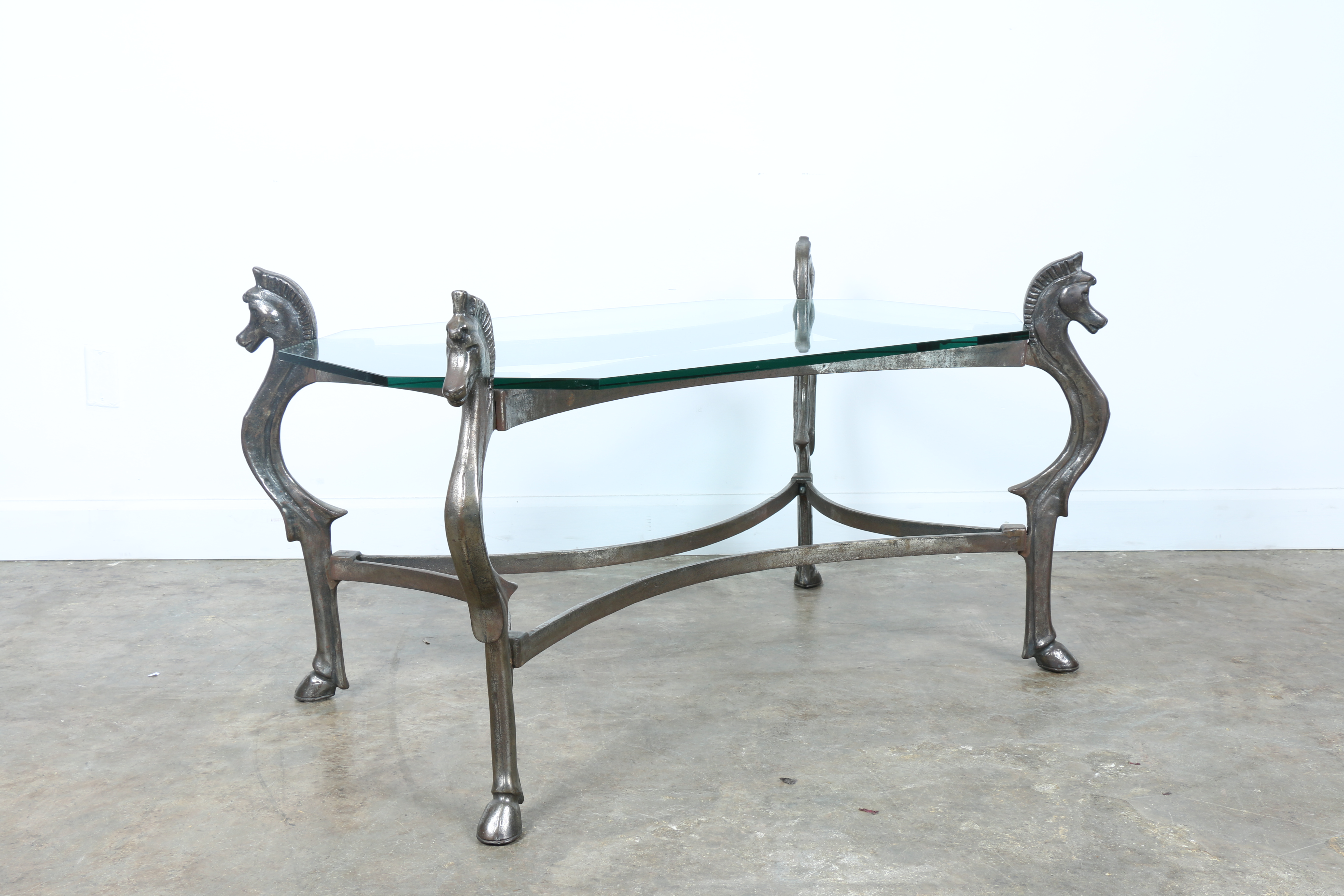 Wrought Iron Glass Top Horse Coffee Table Chairish .