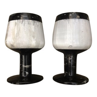 Marble & Selenite Candle Holders - A Pair