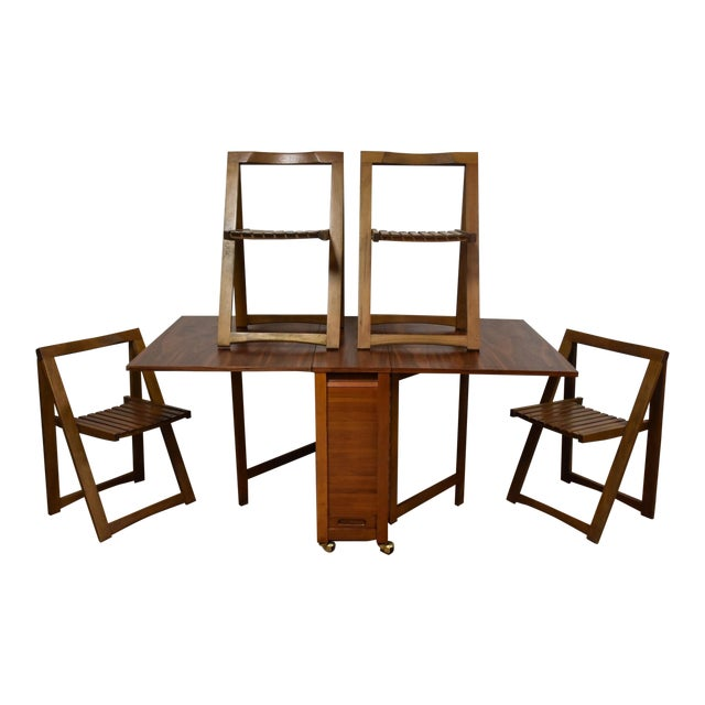 Walnut Dining Table And Self Storing Chairs Chairish