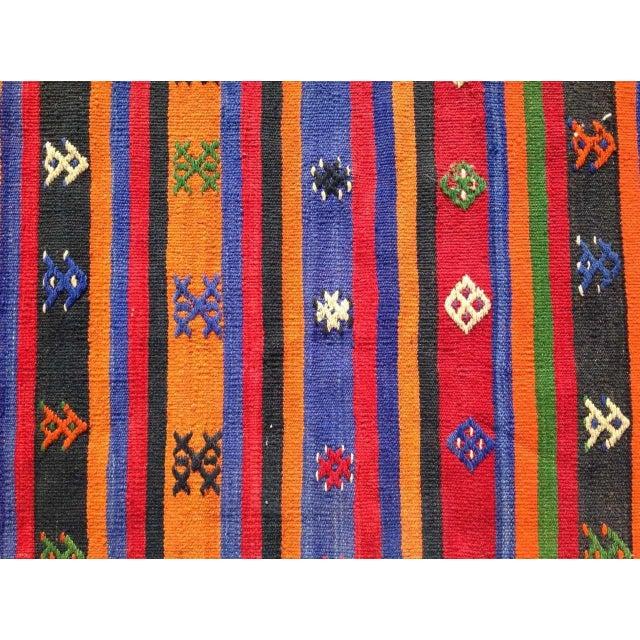"""Vintage Orange Turkish Kilim Rug, 5' 7"""" x 7' 7"""" - Image 6 of 6"""