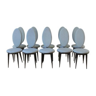 Art Deco Oval Back Lacquer Dining Chairs - 10
