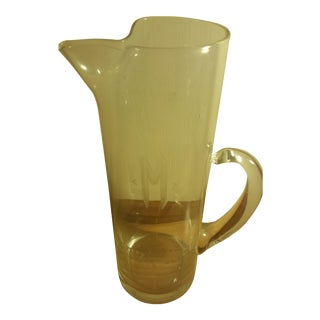 "Tall Clear Glass ""1937-1968"" Monogrammed Beer Pitcher"