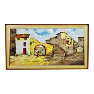 Framed European Village Scene Oil Painting