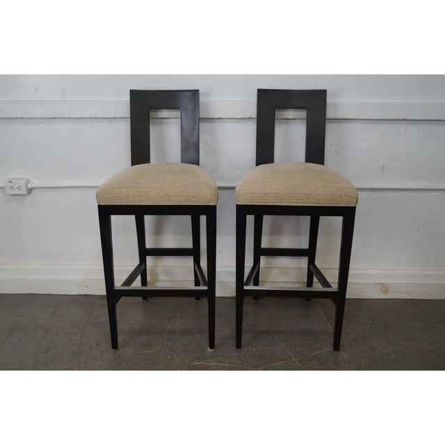 Donghia Margarita Upholstered Bar Stool Chairs- A Pair - Image 2 of 10