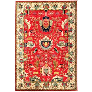 "Eclectic, Hand Knotted Red Wool Area Rug - 6' 4"" X 9' 1"""