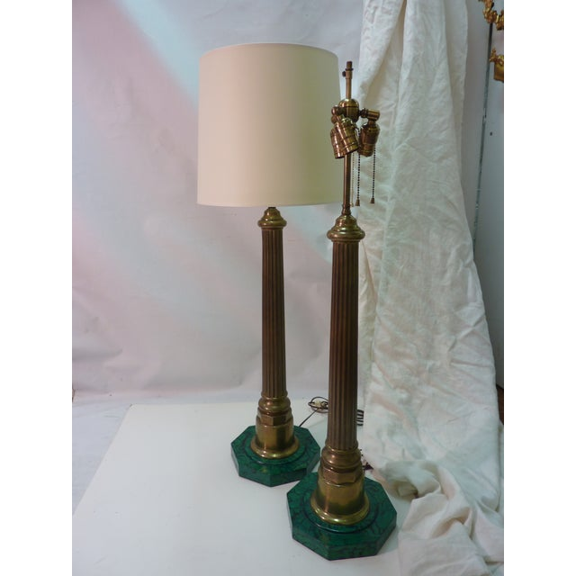 Brass Column Lamps W. Faux Malachite Bases -A Pair - Image 3 of 4