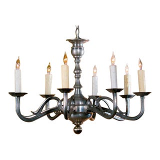 Art Nouveau Style Pewter Chandelier with Eight Arms from France, circa 1940