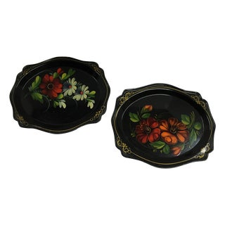 Russian Black Painted Floral Trays - A Pair