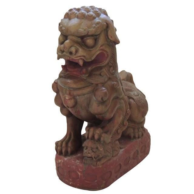 Vintage Wood Carved Foo Dog - Image 1 of 5