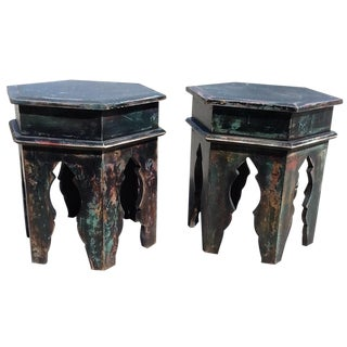 Moroccan Hexagonal Side Tables - A Pair