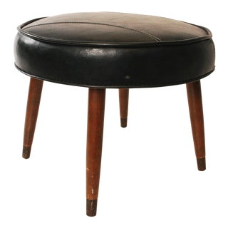 Black Vinyl Round Foot Stool