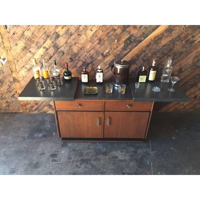 Mid Century Transforming Cocktail Bar Cabinet - Image 3 of 6