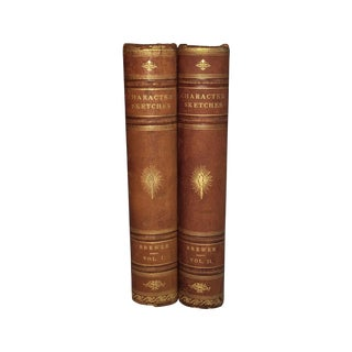 Character Sketches Antique Leather Books - A Pair