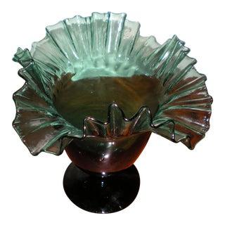 1960's Italian Hand Blown Art Glass Flower Vase