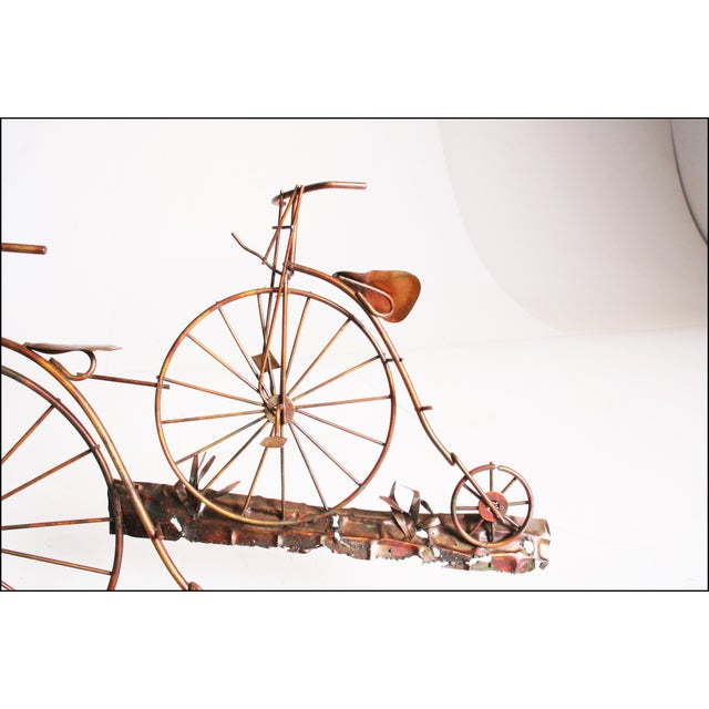 Mid Century Modern Gold Metal Penny Farthing Wall Art - Image 6 of 11