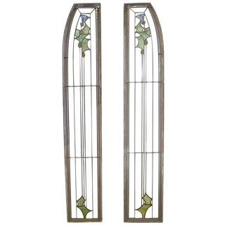 Pair of Leaded Glass Sidelights by George Maher