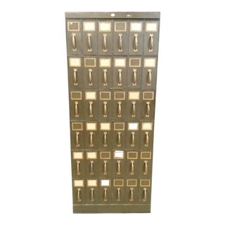 Antique Art Dark Green Metal Vertical Unique 36 Drawer Filing Cabinet