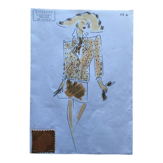 Givenchy Printed Suit Couture Fashion Sketch