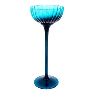 Empoli Italy Teal Art Glass Tall Compote