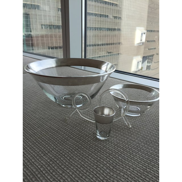 Image of Mid-Century Silver Rim Salad Bowl Set